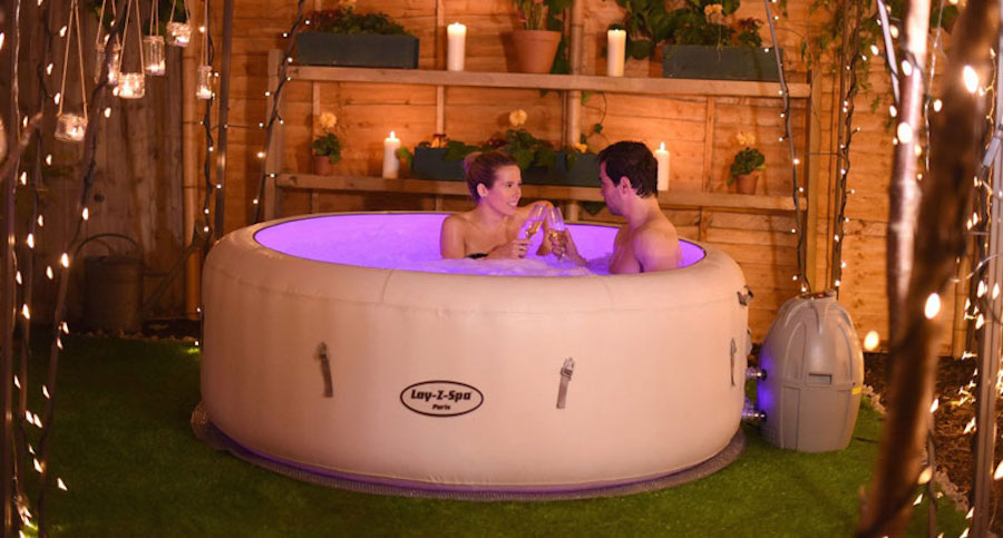 saluspa paris inflatable hot tub w led light show hot. Black Bedroom Furniture Sets. Home Design Ideas
